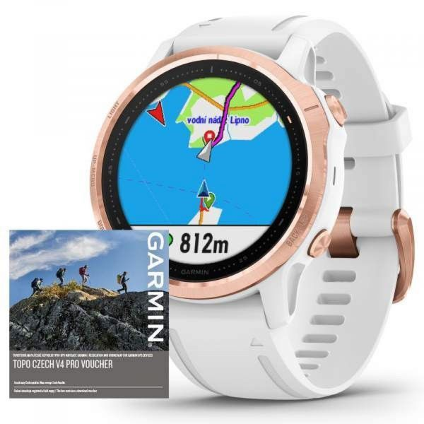 Garmin Fenix 6S PRO Glass RoseGold/White Band (MAP/Music)