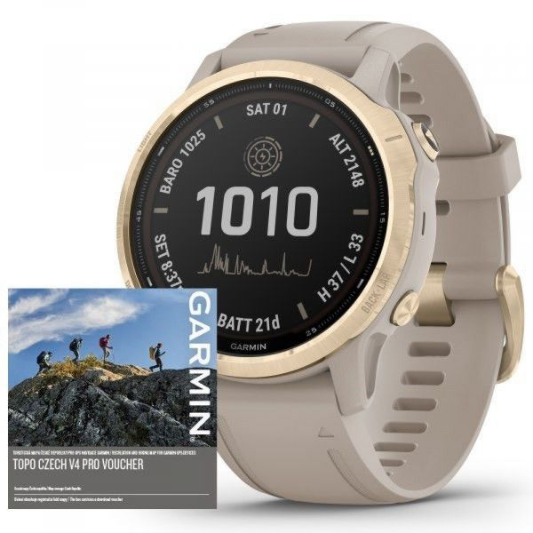Garmin Fenix 6S PRO Solar LightGold/Sand Band (MAP/Music)