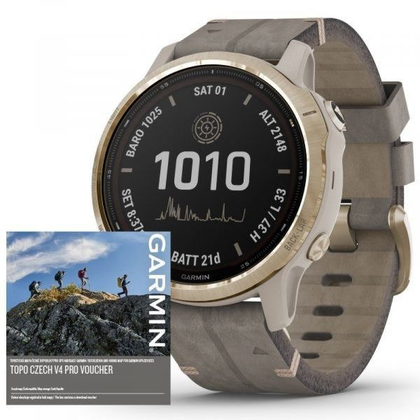 Garmin Fenix 6S PRO Solar LightGold/Suede Band (MAP/Music)