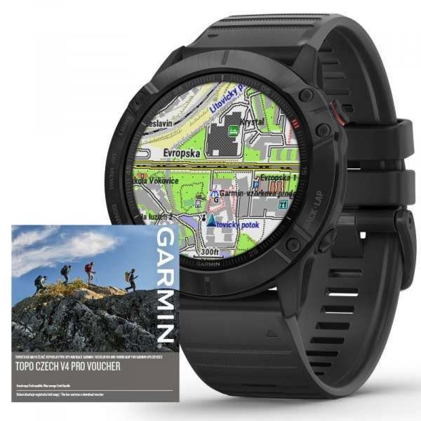 Garmin Fenix 6X PRO Glass, Black/Black Band