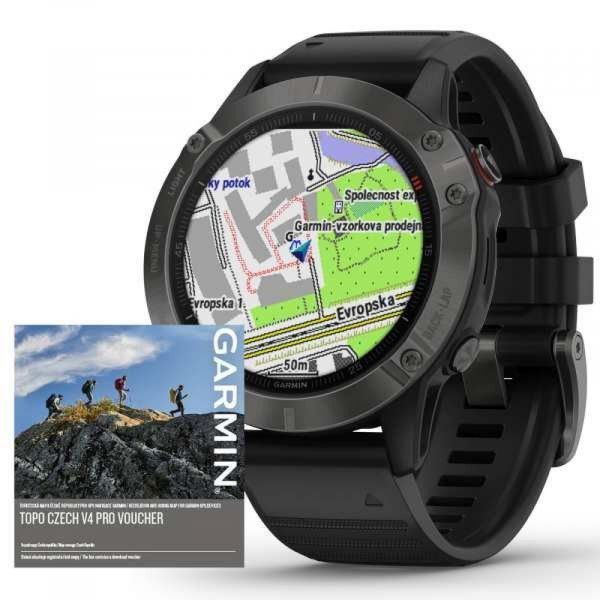 Garmin fenix6 PRO Sapphire, Gray/Black Band (MAP/Music)