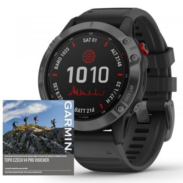 Garmin fenix6 PRO Solar, Gray/Black Band (MAP/Music)